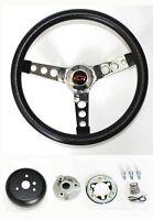 "New! Chevelle Nova Camaro Impala Grant Black Steering Wheel Black/Red 13 1/2"""