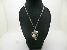 Silver pearl and bead necklace with 17 inch belcher chain and trigger clasp