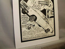1968 Dodge Coronet Super Bee Auto Pen Ink Hand Drawn  Poster Automotive Museum
