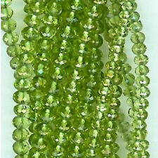 """PERIDOT Micro-Faceted Rondelles 3mm AAA 8"""" Gemstone Bead Strand 44cts tw"""