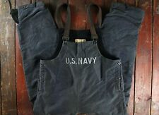RARE WWII WW2 US NAVY BLUE STENCILLED DECK PANTS BIB OVERALLS N-1 USN MILITARY M