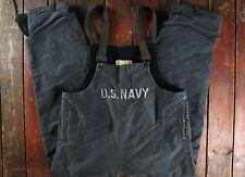 RARE WWII WW2 US NAVY BLUE STENCILLED DECK PANTS BIB OVERALLS N-1 USN MILITARY M