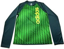 Adidas Kids Boys Green Geometric Soccer Jersey Shirt Size Xl
