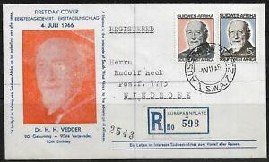 South West Africa 1966 FDC Registered to Ausspannplatz No. 598 Sent to Windhoek