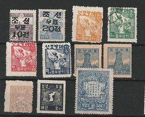 KOREA (21c196) Card of 11 1946 values onward - 10 hinges left on - 1 VFU