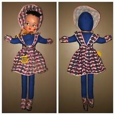 """Vintage 40s 50s DANCE WITH ME DOLL 39"""" A&L Novelty Original Tag Attached Plaid"""