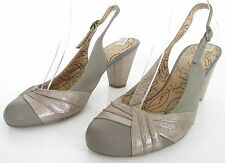 M&S INSOLIA SIZE 5.5 WOMENS BROWN TAUPE SLINGBACKS ANKLE STRAPS COURT SHOE HEELS