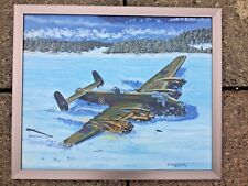 Oil on board painting Colin Fairbrother  B MK II W.1048 Halifax bomber airplane