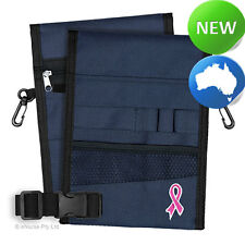 Nursing Pouch-13 Pocket Double Sided, Belt, Embroidery, Nurse - Navy Pink Ribbon