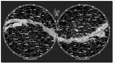 "Modern World Hemispheres Map with Constellations CANVAS PRINT 16""X12"""