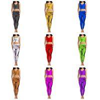 KFLCT Kids Girls Shiny FOIL Dance Stretchy Gym Ballet Crop Top & Leggings PACK