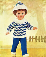 """Dolls clothes knitting  pattern for  18"""" doll.      Laminated copy (V Doll 46)"""