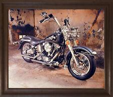 Harley Davidson Black Motorcycle Wall Decor Brown Rust Framed Picture Art Pri...