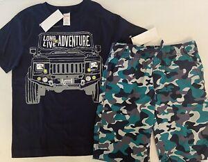NWT Boys 8 Gymboree 'ADVENTURE' Cotton Navy-Blue/Green CAMOUFLAGE  SHORTS & TOP