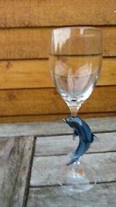 Dolphin Glass Figurine Stem Wine Glass by Suffolk Studio Art Glass