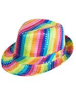 Rainbow Multi Coloured Fedora Trilby Sequin Unisex Fancy Dress Dance Party Hat
