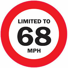 5 x LIMITED TO 68 MPH 125mm Vehicle speed restriction sticker - VAN/WAGGON/LORRY
