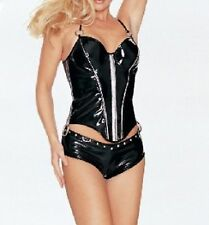 Latex Look Sexy Black Glossy Corset Lace Up Back Zip Front Panties