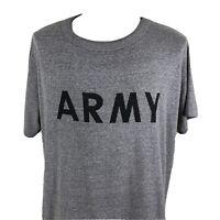 Vintage 90s Army Single Stitch 50/50 Gray Fitness T Shirt Men's XL/2XL Gym Tee