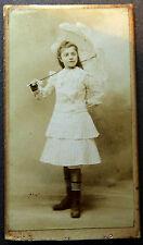 Photo Ancienne CDV Début XXe Portrait Fillette Ombrelle A. Maupuit Tours