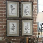 Uttermost Casual Distressed Black Framed Art with Gray and Taupe wash (Set of 4)