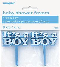 BABY SHOWER PICKS 8 x IT'S A BOY BLUE FOOD PICK FAVOURS FOR CAKE & FINGER FOODS