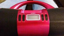 HDMX Audio Pink Mini Boombox I-Pod Dock Digital FM Radio Tuner/ with power cord.
