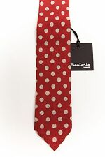 New 180$ SARTORIO by KITON Tie Cotton + Linen Red Unlined Hand-Rolled Handmade