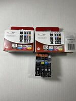 GENUINE Canon 225 Black and 226 Cyan Magenta Yellow Ink Cartridges New & Opened