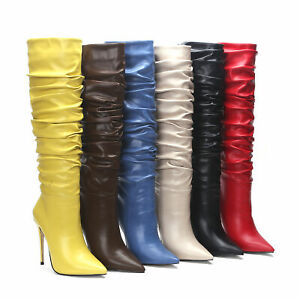 Women's Microfiber Leather Pointed Toe US Size Shoes Knee High Heel Slouch Boots