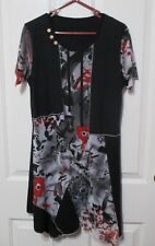 LADIES LONG ASYMMETRICAL TOP BLACK & MANY COLOR TOP SIZE 36 INCH BUST
