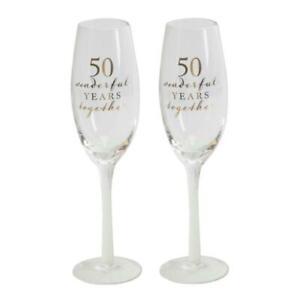 50th GOLDEN ANNIVERSARY CHAMPAGNE FLUTE GLASSES ( 2 ) GIFT BOXED Free Ship UK