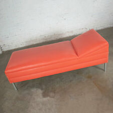 Mid Century Modern Chaise or Day Bed in Coral Vinyl Faux Leather with Aluminum L