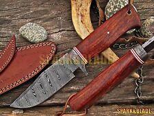 """Custom Handmade Damascus Steel Hunting Knife 9.75"""" Long Knife."""