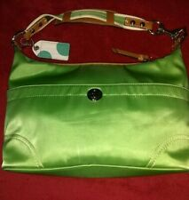 Authentic Coach F11668 Granny Smith Apple Green Hampton Satin Hobo/Shoulder Bag