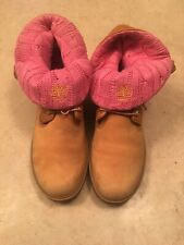 Timberland Women's Roll Top Wheat Boots Size10 With Pink knitted top EUC, Rare,