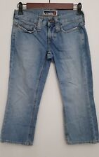 Old Navy Womens Denin Capri 2 Medium Wash 100% Cotton Cropped Jeans Distressed
