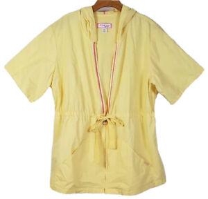 Koi By Kathy Peterson Womens Plus 2X Yellow Hooded Scrub Top Short Sleeve #403
