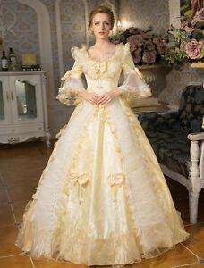 White Victorian Lolita short sleeve Bows Ball Gown maxi prom wedding long Dress