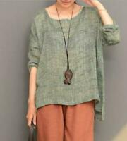 Women Linen Loose Shirt Long Flax Tunic Long Sleeve Tops Shirt Crew Neck Shirts