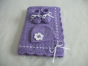 Crochet Baby Set- Blanket Hat Booties Infant 0-3m Handmade Shower Gift Baby Girl