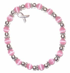Stretch Breast Cancer Awareness Bracelet, 6mm Pink, Fits most adults, Packaged