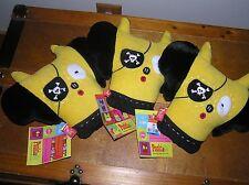 Estate Lot of 3 Pooki & Co Black & Yellow Plush KIKO Pirate Pillows – 10 x 9 in