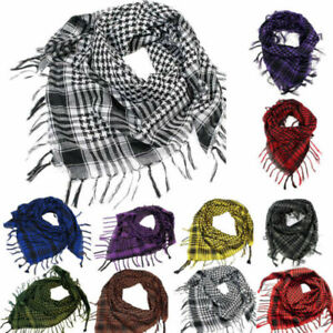 100% Soft Cotton Shemagh Scarf Arab Keffiyeh Military Desert Head Neck Wrap mask