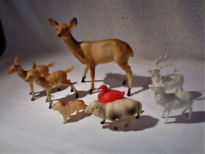 Vintage  Animal Celluloid collection with rare huge 6 inch tall deer