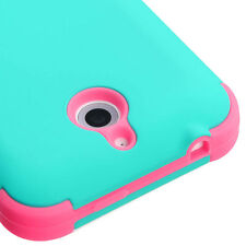 For HTC Desire 510 512 - HARD&SOFT RUBBER HYBRID IMPACT CASE TURQUOISE BLUE PINK