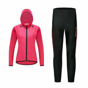 Women's Cycling Jersey Set Windproof Hooded Jacket Padded Pants Outfit Clothing