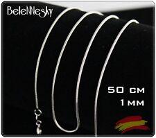 Cadena Chain Plata Chapado 925 de Serpiente 1mm Snake 50cm largo