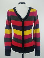 Zinana Outfitters Women's Button Down Knit Striped Sweater Multi-Color Medium