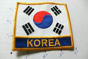 NEW KOREA FLAG YELLOW GOLD BORDER BLUE STITCHED UNIFORM PATCH Martial Arts MMA